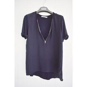 Bailey 44 Silk Zipper Front Silk Blouse Blue XS